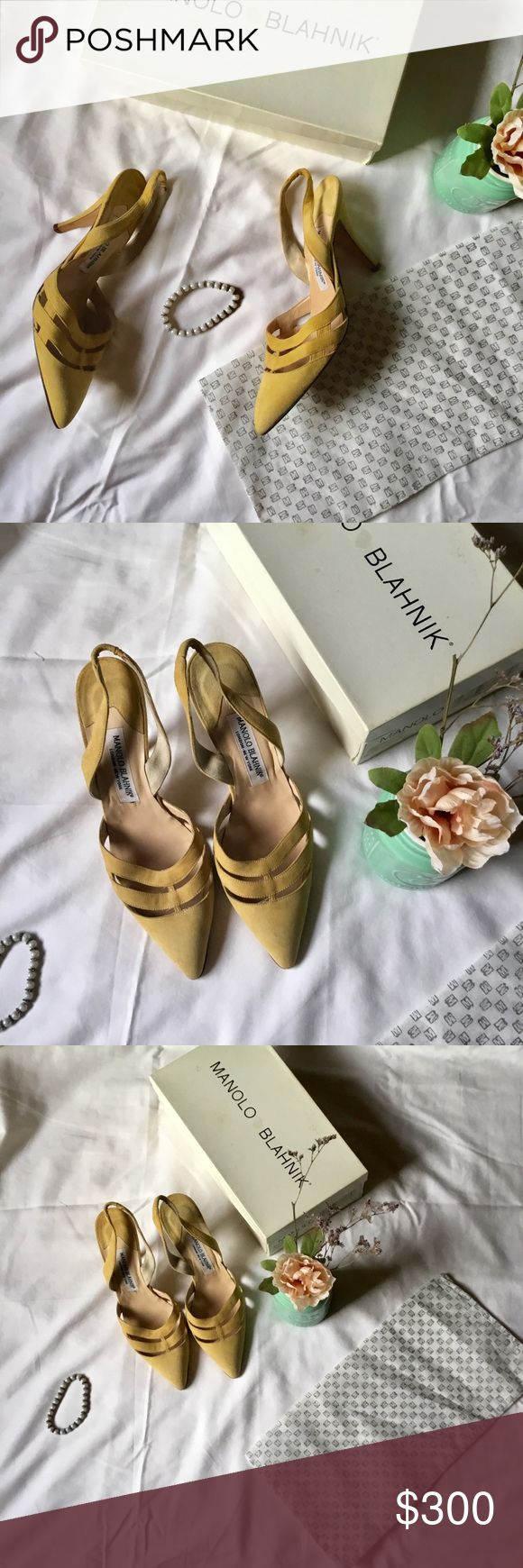 👡Manolo Blahnik Vintage Suede Yellow Slingbacks👡 Vintage. Gorgeous. Classy. I've kept these beauties stored in this box for over a decade. They are in awesome condition. 👡👡👡😍😍😍 Size is 38 1/2. Can include dust bag if requested. This listing is without this dust bag. I only have one dust bag and two Manolo Blahnik listings. Serious offers only please. 😘 Manolo Blahnik Shoes Heels