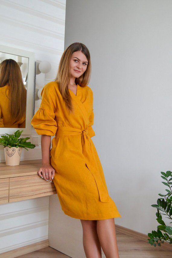 9ed8aae304 Mustard linen dress - Yellow dress - Women wrap dress - Linen apron dress - Knee  length - Long sleeve