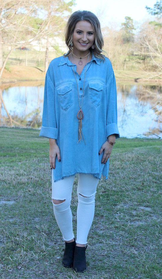 All In Favor Long Sleeve Tunic in Blue – Giddy Up Glamour Boutique