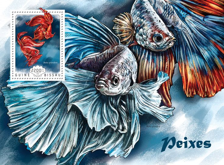 Post stamp Guinea-Bissau GB 14605 b	Fishes (Betta splendens)