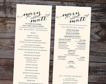 Modern Wedding Program Ceremony Programs By Annamalie