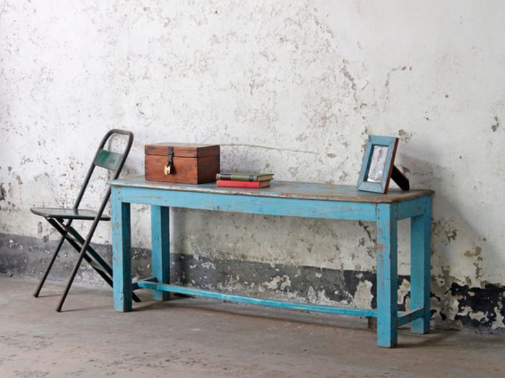 A lovely blue vintage wooden bench that could be used as a  bench or table - a unique item of Scaramanga furniture with its priginal faded pastel blue colour. #vintage #furniture #homeinterior #homedecor #salefurniture #coffeetable