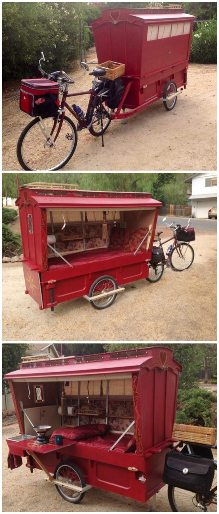 Artist built a micro gypsy wagon you can tow with your bike! More on FB: https://www.facebook.com/barryhowardstudio/media_set?set=a.10200534725463820.1073741826.1028749845&type=3