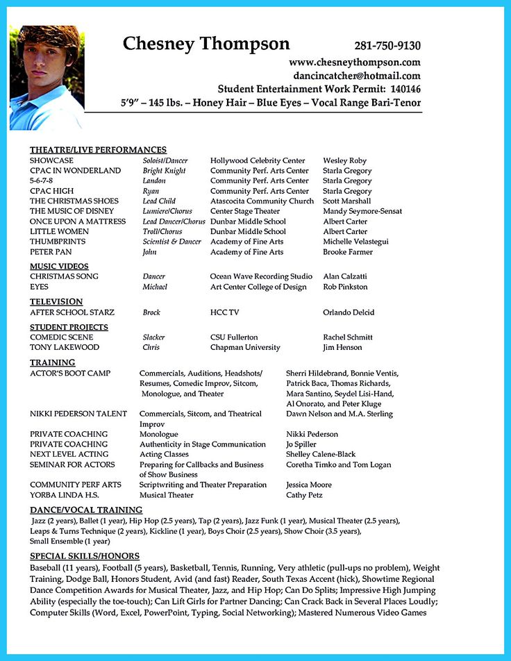 acting resume template templates free theater child actor audition