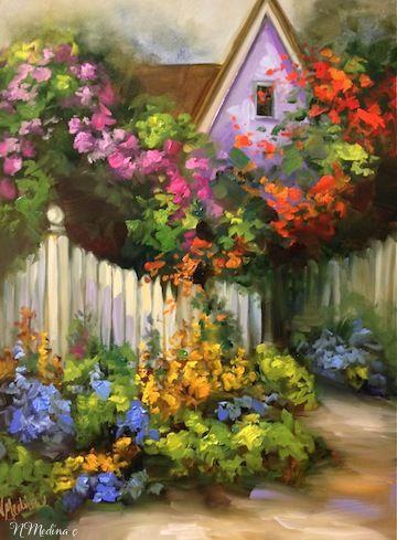 Coronado Flower Garden Cottage by Nancy Medina Oil ~ 16 x 12 $275