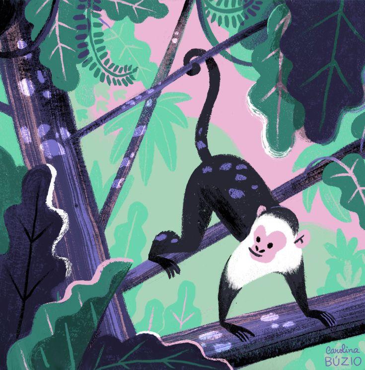Somewhere in the jungle -monkey - by Carolina Buzio illustration