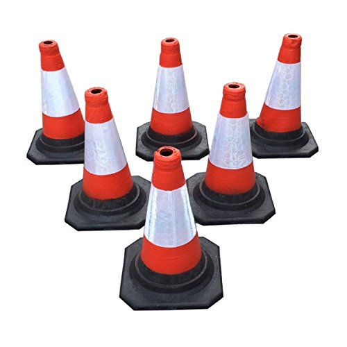 "(pack Of 6) Road Traffic Cones 18"" (450mm) Self Weighted Safety Cone"