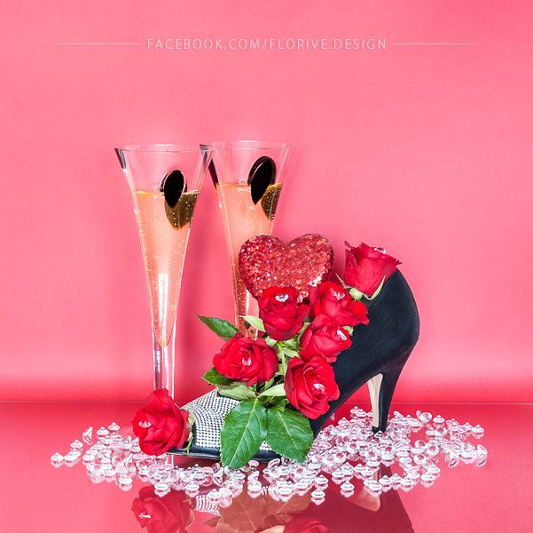 Floral Shoe Centerpiece with Glasses of Champagne for Valentine's Day