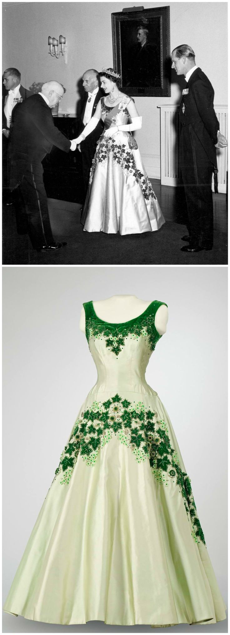 "Above: Chief Justice Patrick Kerwin greets H.M. Queen Elizabeth II, who is seen wearing the ""Maple Leaf of Canada"" dress, 1957. Photo: The Globe and Mail. Below: Queen Elizabeth's ""Maple Leaf"" dress, designed by Norman Hartnell. Collection of the Canadian Museum of History. Photo: Marie-Louise Deruaz."