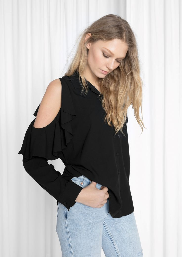 & Other Stories image 2 of Frilled Cut Out Blouse  in Black