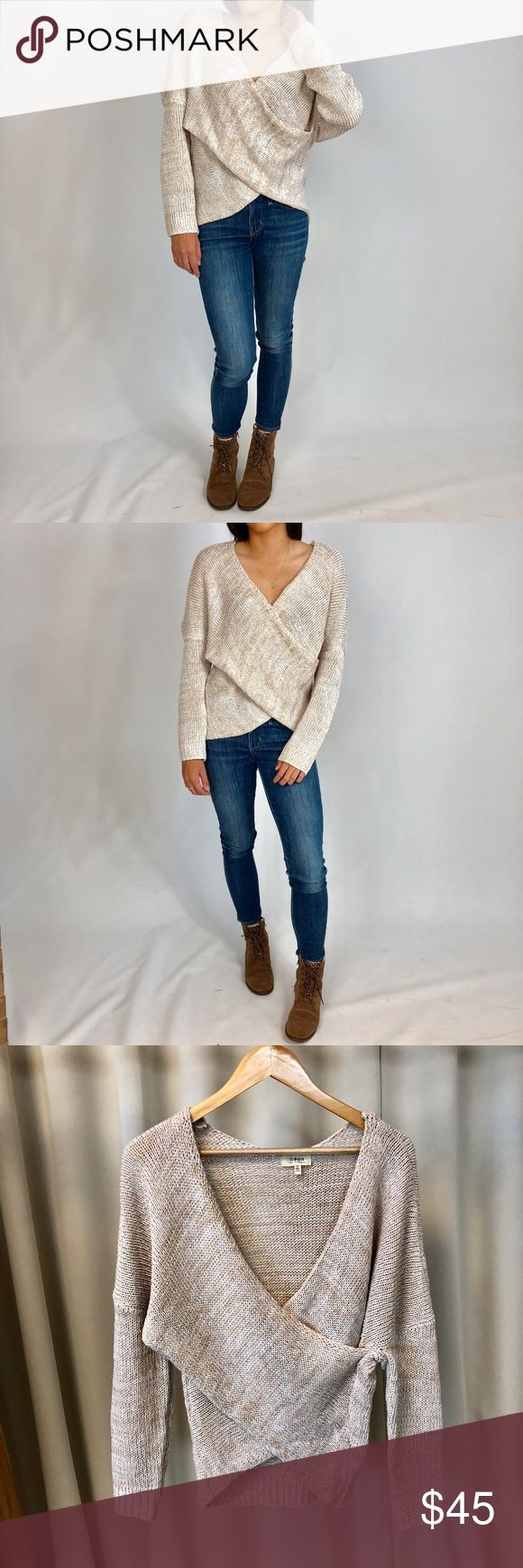 "NATALIE Oatmeal Front Wrap Knit Sweater Lovely for the fall and winter season. You can dress it up or down.  100% Acrylic Ribbed cuffs & Hem, Draped front, Chunky knit Model is 5'4"" wearing Smalls WonderlustApparel Sweaters V-Necks"