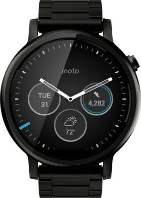 Motorola Moto 360 offers a 1.56 -inch (360 x 330) touchscreen LCD HD display. It comes with 512 MB of RAM and 4 GB of internal storage. 1.2GHz Quad-core