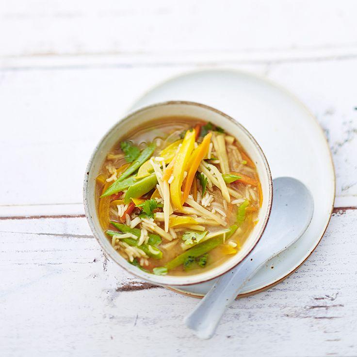 Aziatische soep met peultjes en rijst Recept | Weight Watchers België