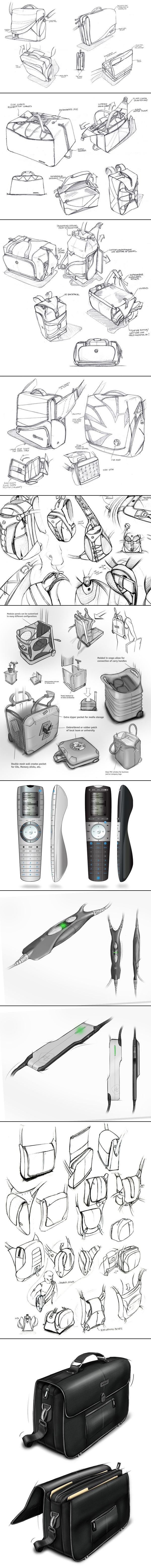 product design sketching, sketches, soft goods sketching, bag design. studioFAR - Soft G - created via http://pinthemall.net
