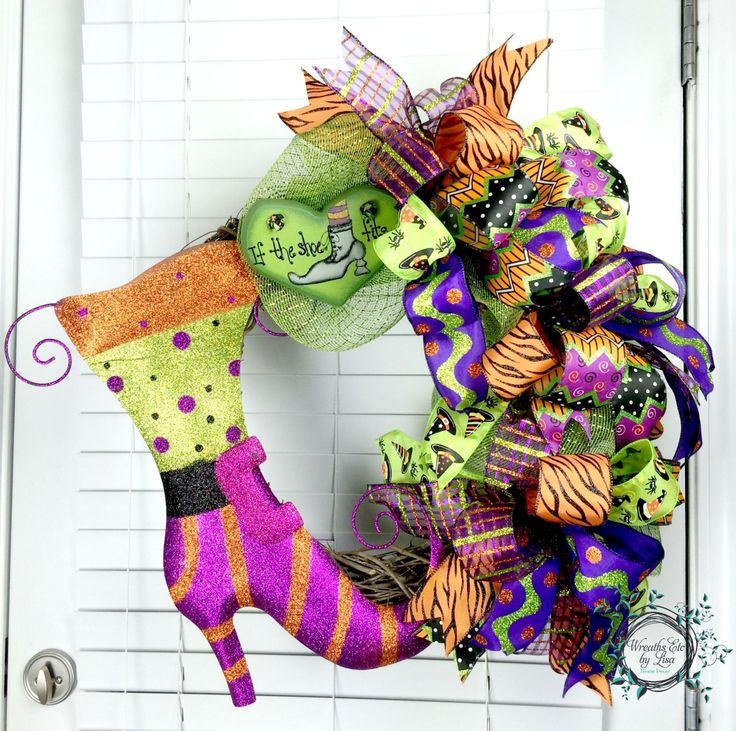 halloween deco mesh wreath funky bow wreath grapevine wreath if the shoe fits - Etsy Halloween Decorations