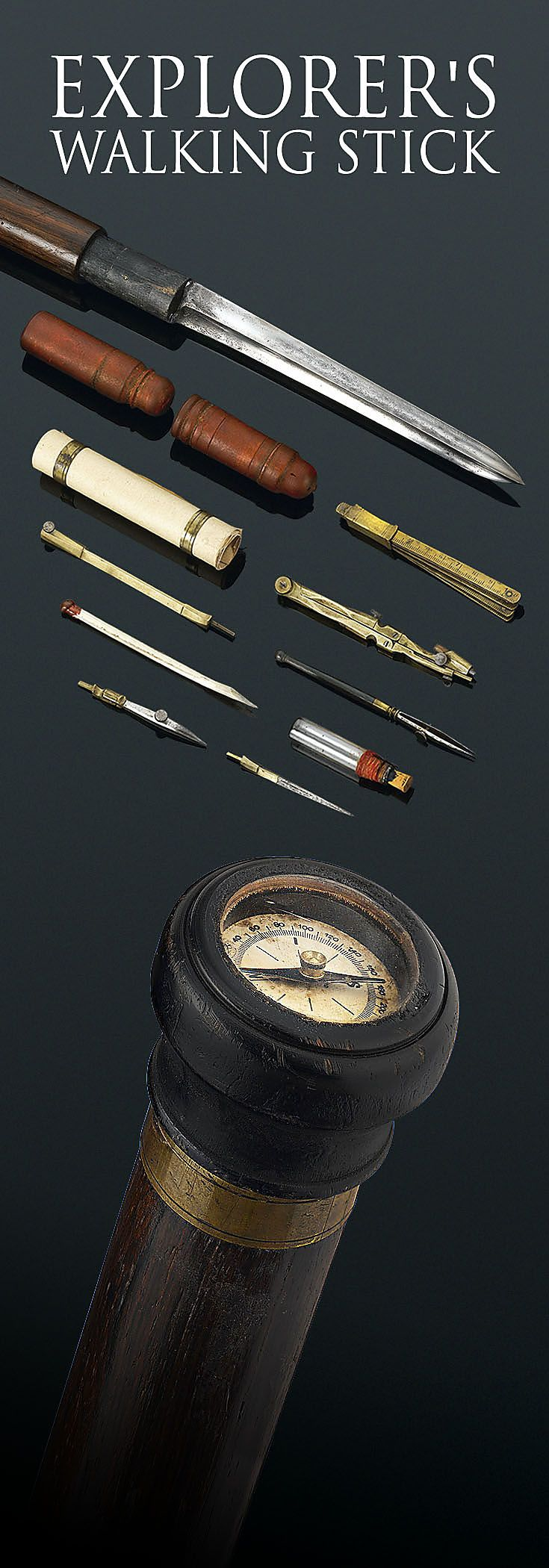 This extremely rare explorer's cane is the perfect companion for the intrepid adventurer. A small compass is set into the knob handle, while several more instruments are tucked inside the shaft, including a telescope, a bayonet, a drafting compass, pens and parchment papers, field maps, and plotting tools. An ink bottle and case are also included, completing this extraordinary cane ~ M.S. Rau Antiques