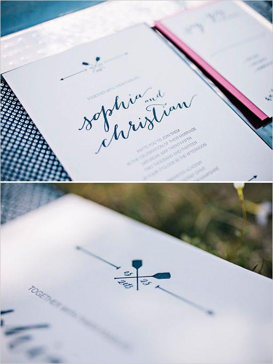 navy and pink wedding invite wedding invitations by Inkprint Letterpress