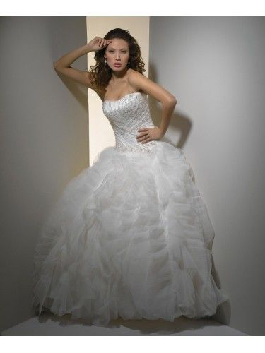 Tulle Strapless Sweetheart Embroidered Bodice Wedding Dress