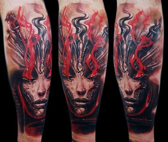 Amazing in color too by Tomasz Tofi Torfinski. From this blog: http://blog.tattoodo.com/2015/06/22-fascinating-giger-tattoos/