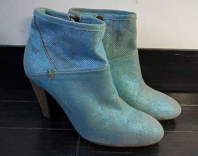 Anthropologie Coque Terra Blue Metallic Leather Ankle Boots 8 38 Sparkle Cowboy