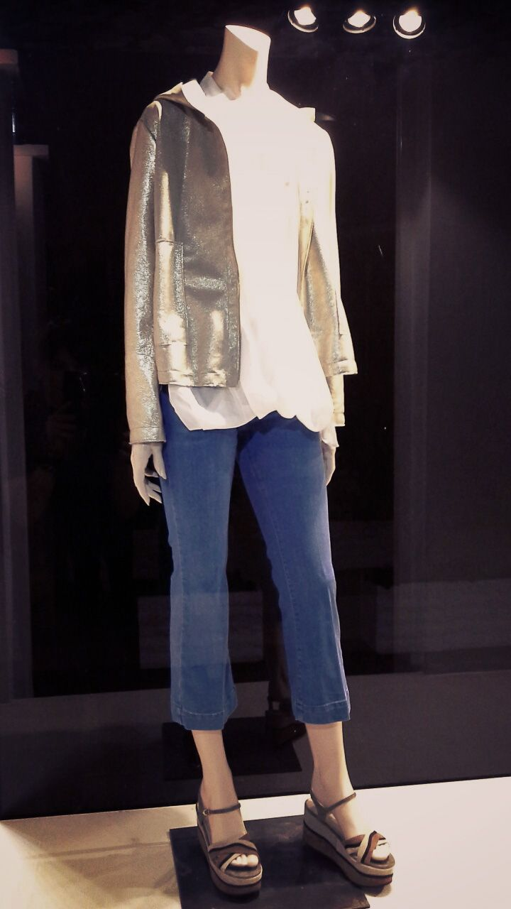 Geelists Window Front: Leather golden jacket Silcaholics Top Terre Alte Necklace Vassilia Jeans from Space Style Concept Wedgies L'autre Chose!!!