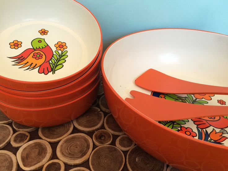 Japanese Lacquered Salad Bowl Set with Serving Utensils and Condiments Tray - Birds & Flowers - Groovy Midcentury Modern Vintage Tableware by 20thCKitchenAndTable on Etsy