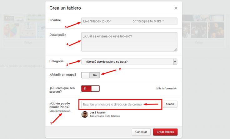 Opciones de los tablero secreto en Pinterest
