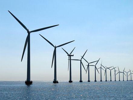 Groot-klein: je ziet dat de windmolens steeds kleiner worden naarmate ze steeds verder weg staan