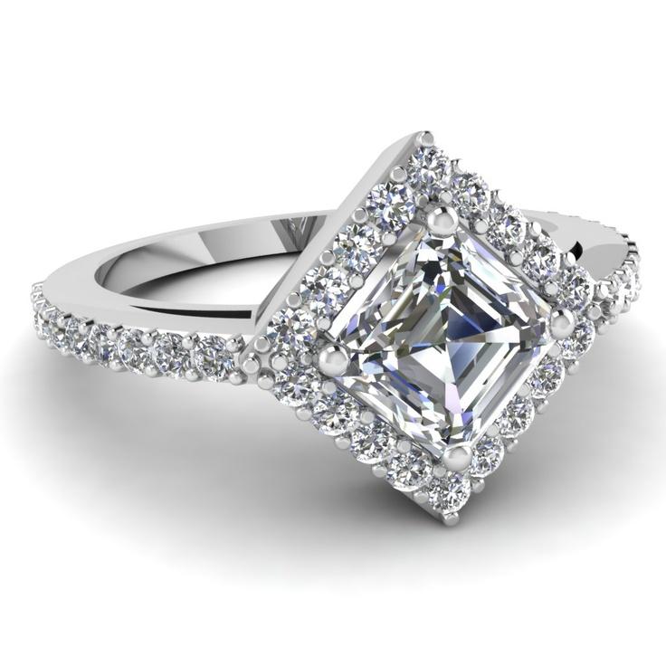 Princess cut Halo Diamond Engagement Ring Diamond Engagement Rings ...