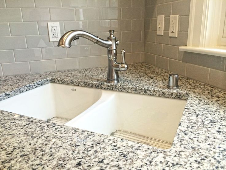 White Cast Iron Sink Luna Pearl Granite Desert Gray