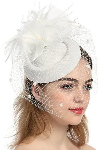 aa5b14f2e26 Zivyes Wedding Hat Pillbox Hat Feather Fascinator Hats wi... https