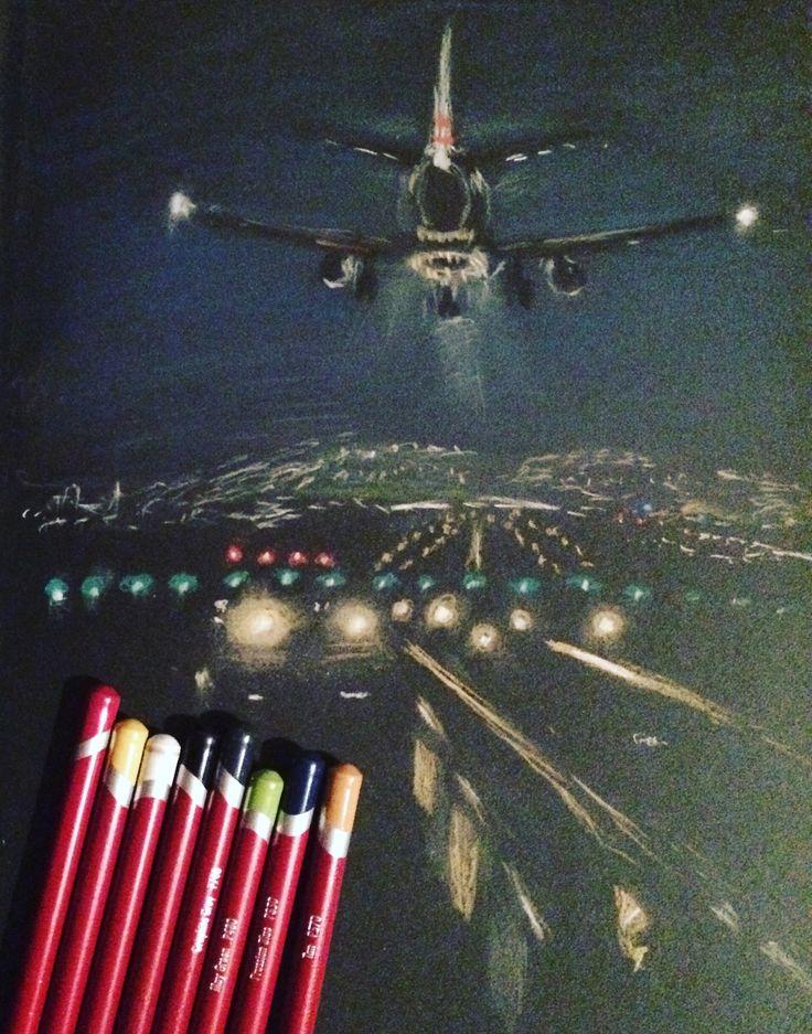 Plane landing - pastel drawing