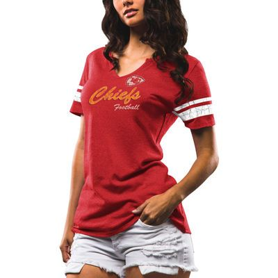 Women's Majestic Red Kansas City Chiefs Game Tradition Tri-Blend V-Neck T-Shirt