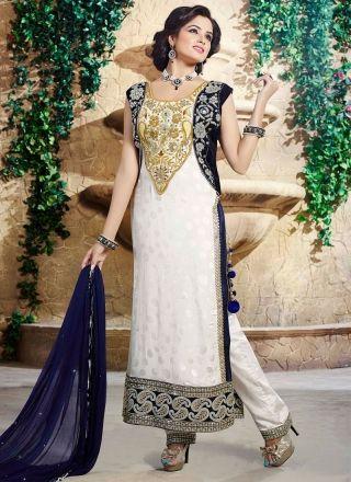 Wonderful White N Blue Festival Wear Salwar Suit http://www.angelnx.com/Salwar-Kameez