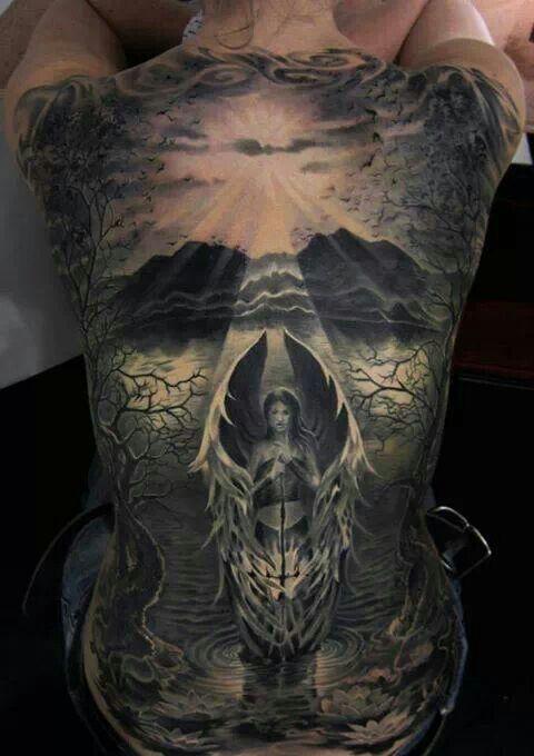 Absolutely sick back piece by piotr deadi dedel tattoos for Badass angel tattoos