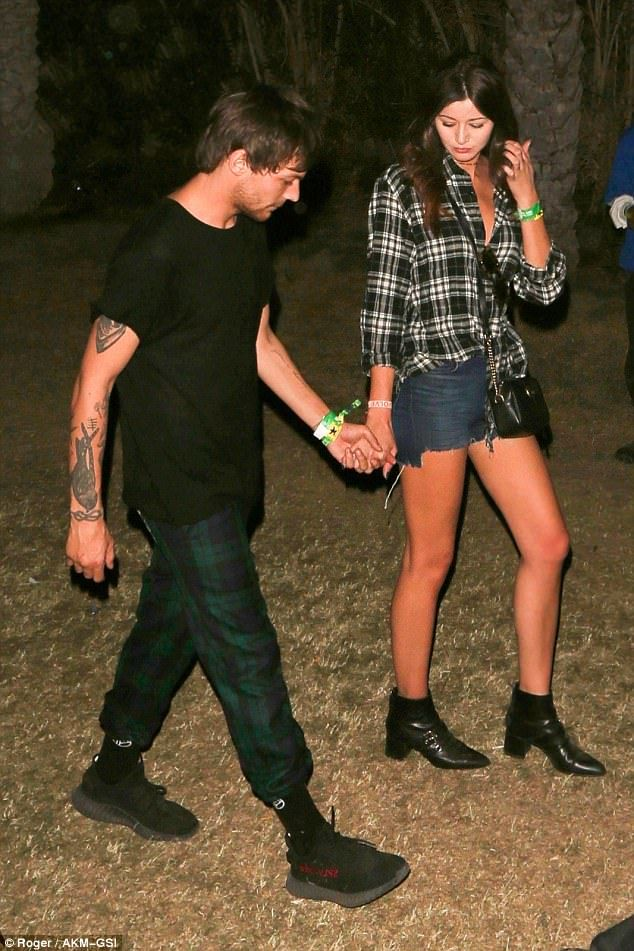 Louis Tomlinson and his girlfriend Eleanor Calder went hand-in-hand as they celebrated in style at Coachella Festival in Indio, California on Sunday night
