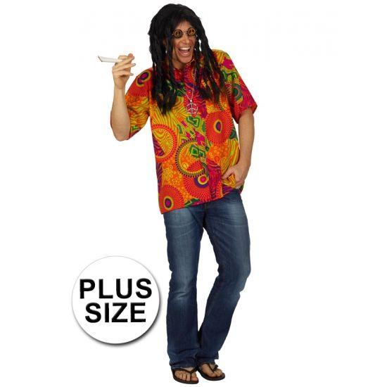 Grote maten hippie shirt voor heren. Kleurrijk hippie overhemd voor mannen.