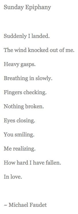 Falling in love expressed in a few simple words.