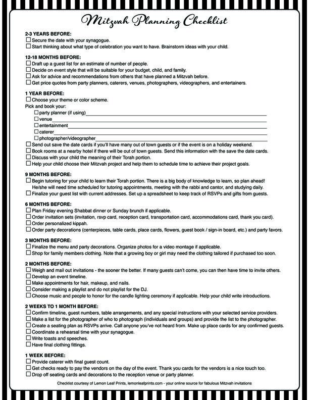 Free printable Bar Mitzvah or Bat Mitzvah planning checklist.