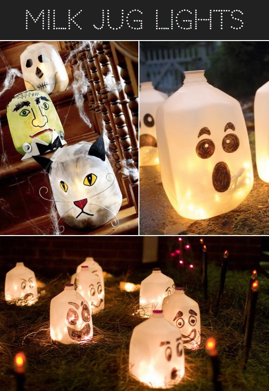 Make Halloween Luminarias by filling milk jugs with lights. To the original pinned:❤ THANK YOU for using the correct word: Luminarias!