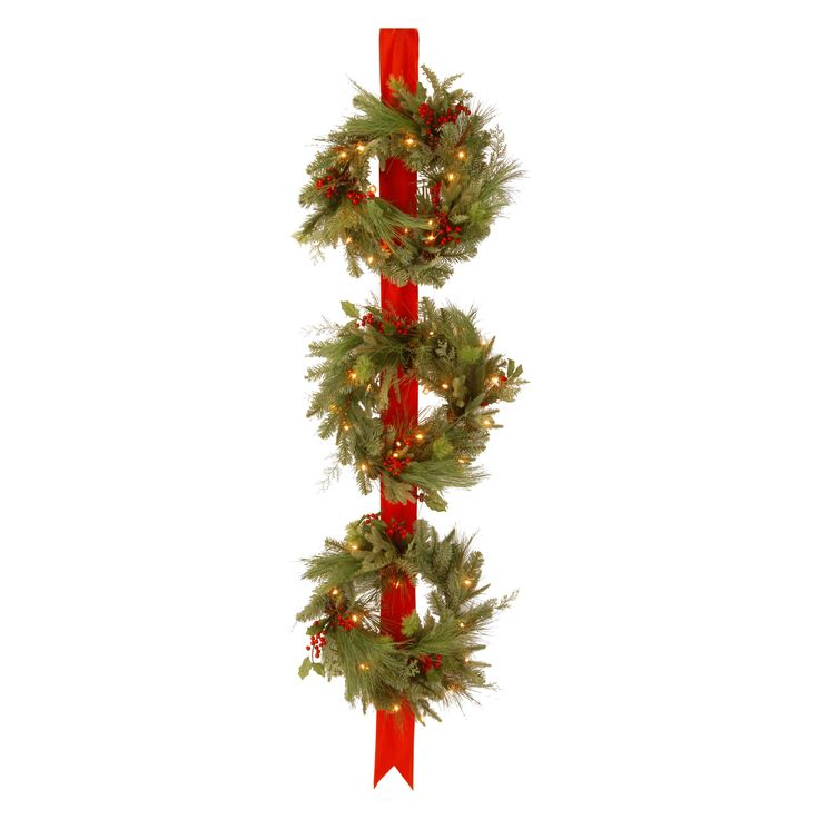 Decorative Collection Triple Wreath Door Hang with 3 18 in. Pre-Lit Christmas Wreaths | from hayneedle.com