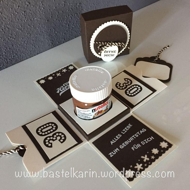Explosionsbox für Mini-Nutella aus Material von Stampin Up! Verpackung