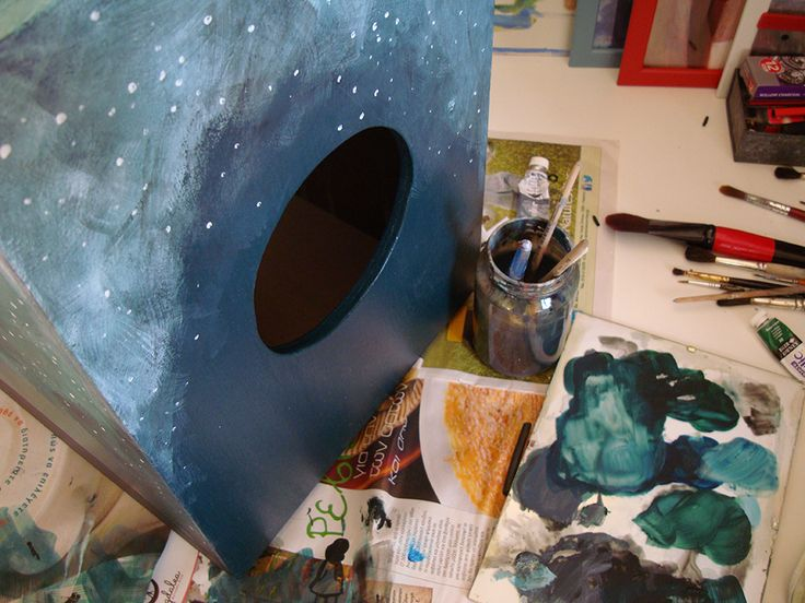Painting a handmade cajon... #cajon #musicintruments #painting #nightsky #galaxy #sky #stars #music #wooden