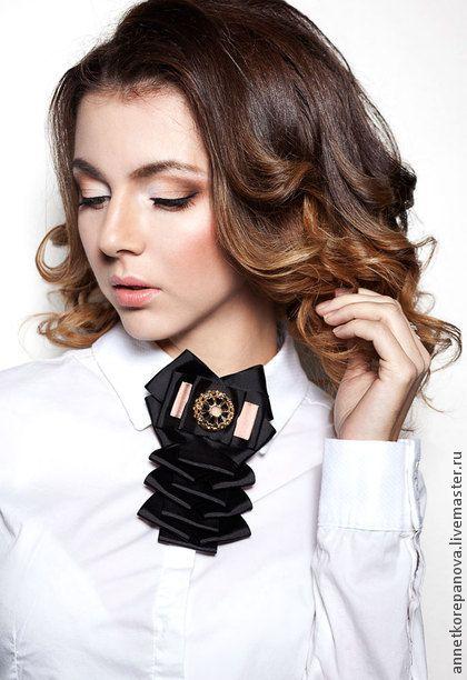 Брошь-галстук Royal style - чёрный,брошь-галстук,галстук,галстук из репсовых лент