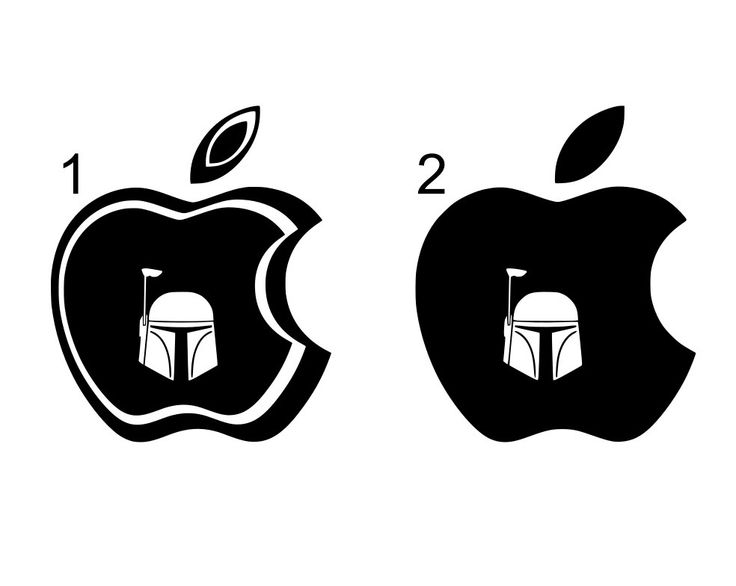 Mac decals macbook 3d apple with boba fett helmet cutout apple covers iluminated apple logo on your mac and the design shines through