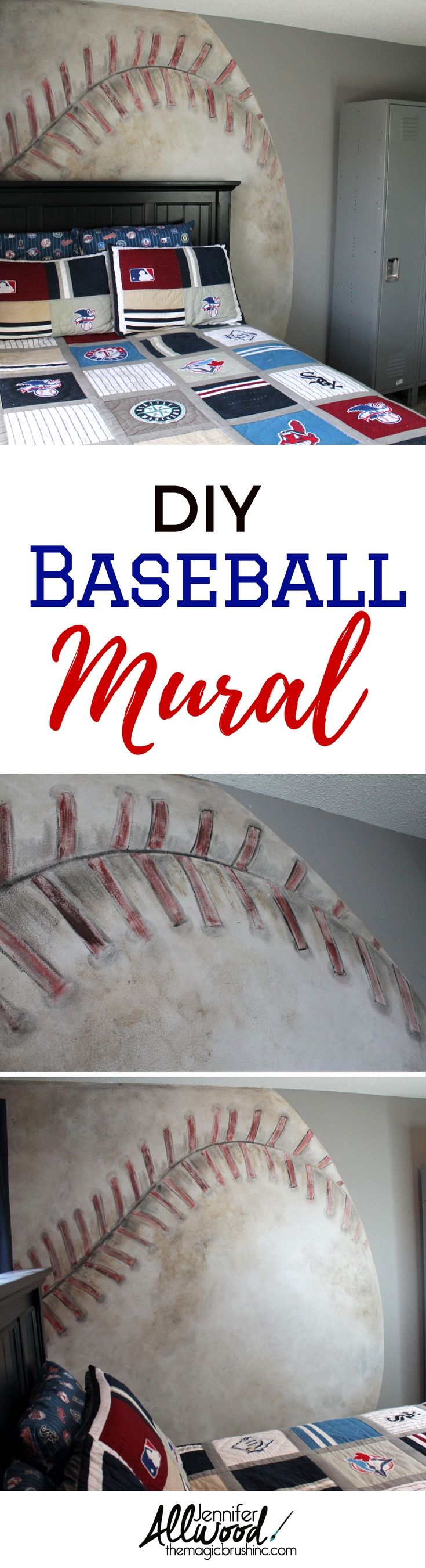 DIY Baseball Mural for Teen's Room - How to paint a baseball mural by Jennifer Allwood of theMagicBrushinc.com   Mural Painting Tips