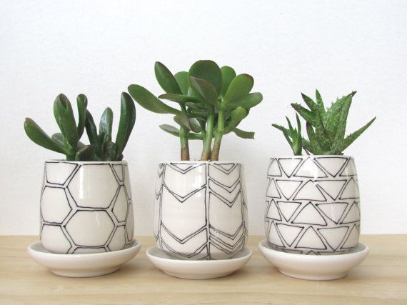 Set Of Three Small Black and White Geometric Planters. Modern. Handmade porcelain planters. Drainage holes and dishes. READY TO SHIP.