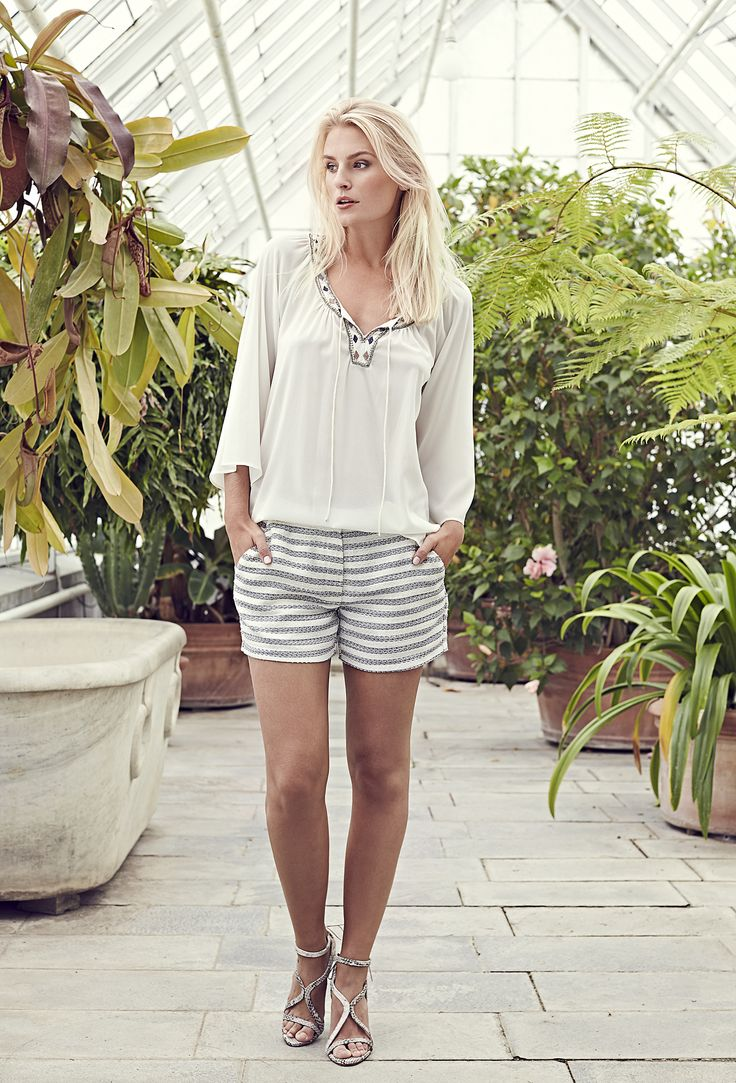Oline tunic - Natural white with Cicely shorts - Bouclé