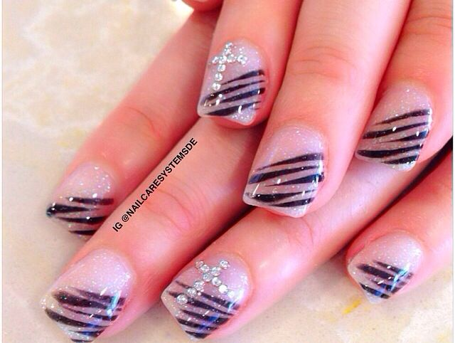 Natural look with black lines and rhinestone cross nail design - The 25+ Best Cross Nail Designs Ideas On Pinterest 16d Nail, Fun