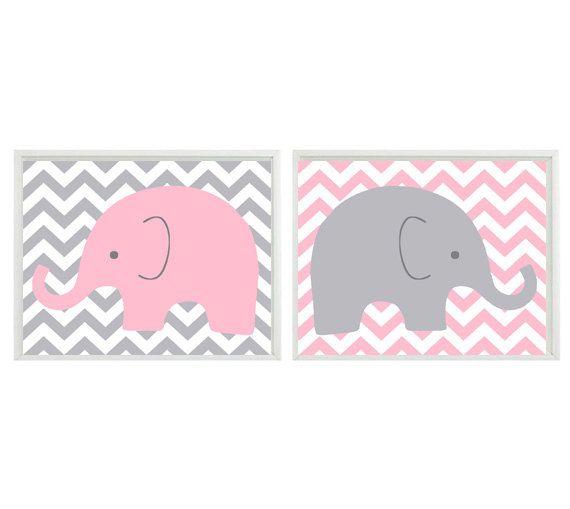Elephant Nursery Wall Art - Light Pink Gray Chveron Decor  - Children Kid Baby Girl Room - Safari Zoo Set 2 8x10 Print